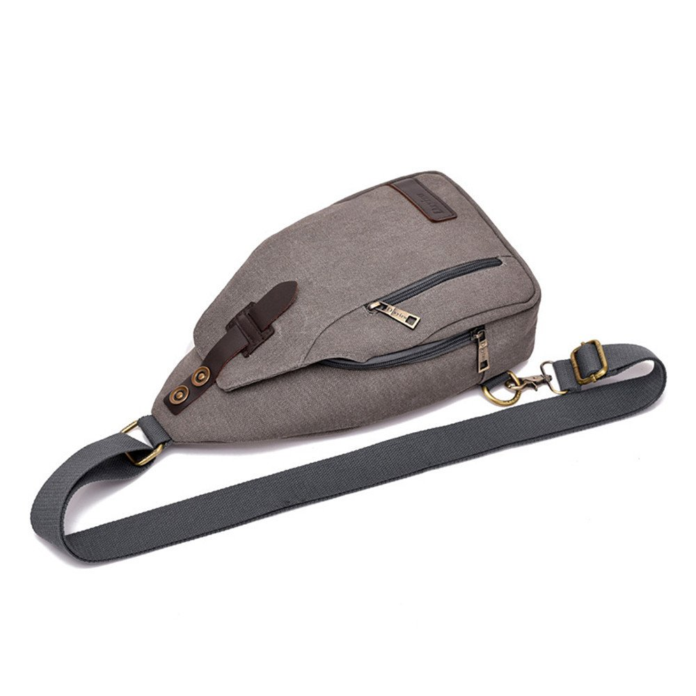 AFCITY Bolso de la Honda de la Lona Bolso Bolso Lona de Crossbody del Viaje Deportivo de la Carga del USB para los Hombres 73b14d