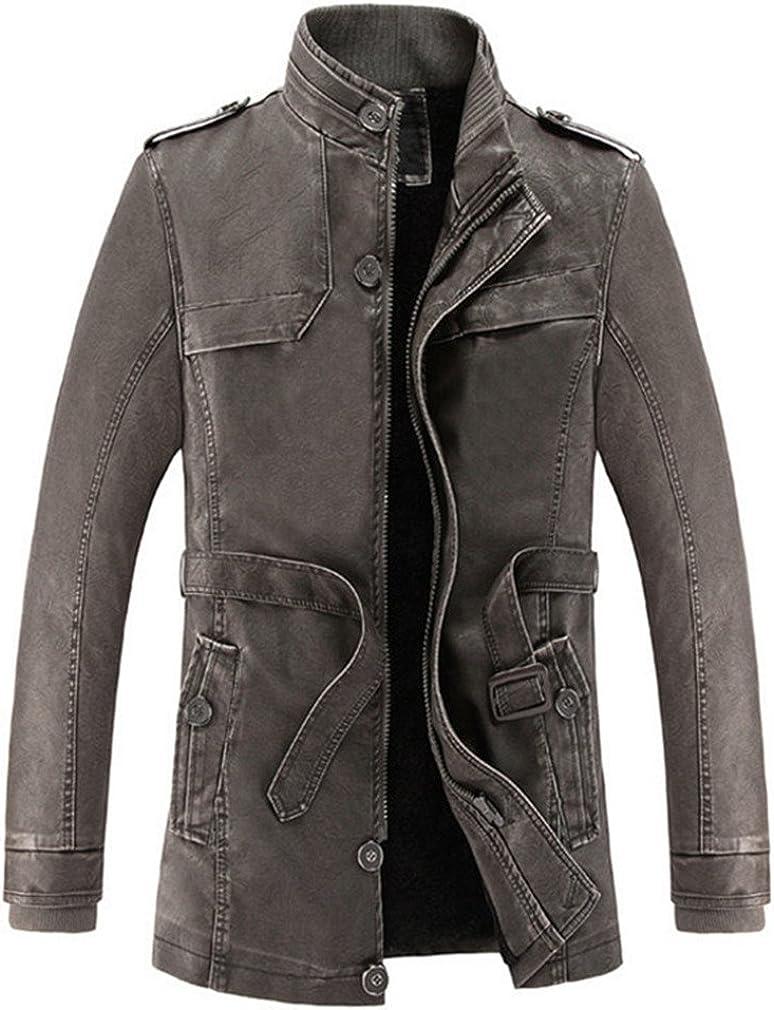 TYWAG New Winter Leather Jacket Men Slim Warm Washed Leather Motorcycle Biker Jackets