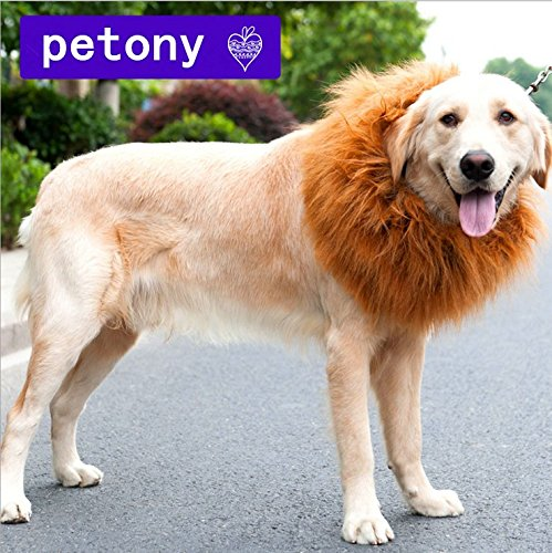 [Petony Pet Costume Lion Mane Wig Hair for Dog Christmas Xmas Santa Halloween Clothes Festival Fancy Dress Up] (Make Lion Costume For Dogs)