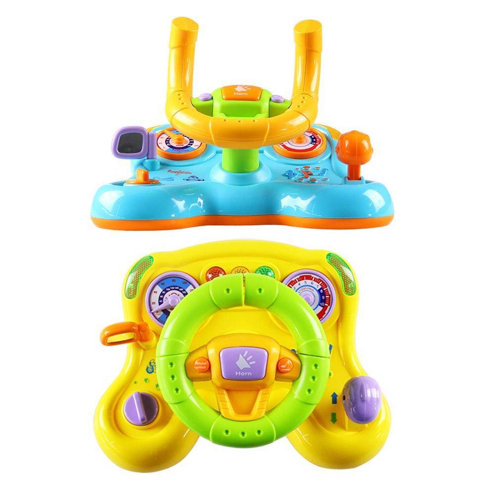 Conten+T Baby Toy Driving Steering Wheel Equipped with Lights, Mirror, Music,Driving Sounds Toys Children Early Education Toy