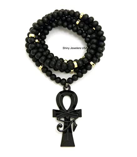 Mens Egyptian Eye Of Heru Ankh Cross Pendant 30 Wooden Bead Chain Necklace