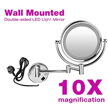 Oxford Steet High Quality LED Lighted Magnifying Mirrors Chrome Wall Mounted Extending 85 Inches Cosmetic