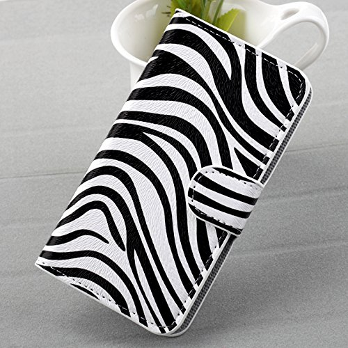 ACC5Star(TM) 2014 New Fashion Printed PU Leather Skin Shell Magnetic Flip Stand Slot Card Wallet Case Cover For T-mobile Samsung Galaxy S2 T989 Phone + High Quality Random Color Stylus With LOGO + 10*15 CM Green Soft Clean Cloth With LOGO (Zebra)