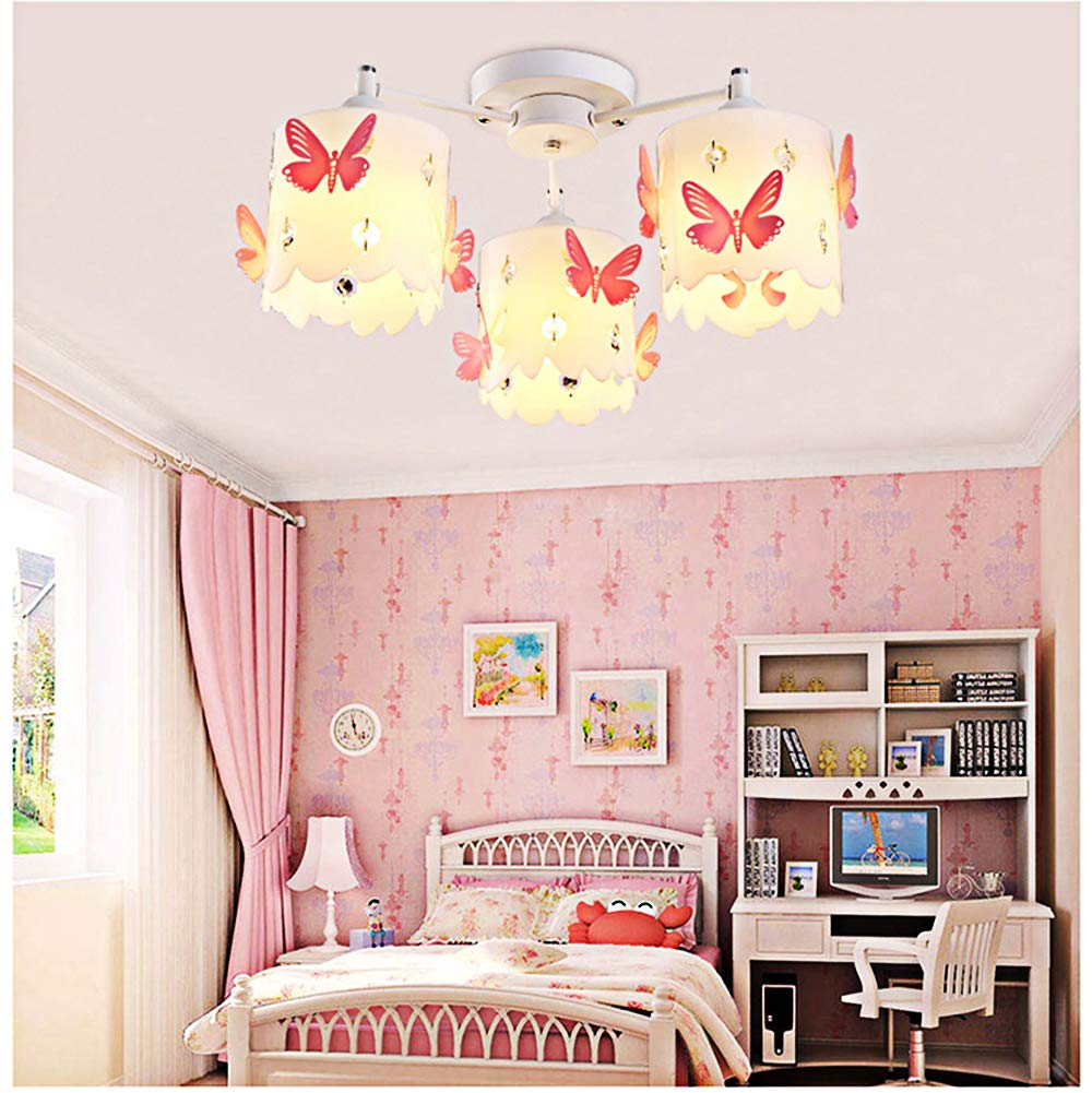 Kids chandeliers for girls room led pink crystals butterfly round ceiling lighting princess modern simple warm romantic design style ceiling lamp chandelier