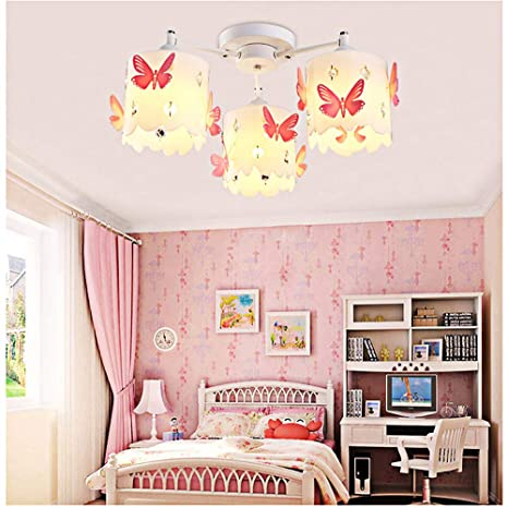 . Kids Chandeliers for Girls Room LED Pink Crystals Butterfly Round