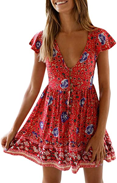 Ladies Vintage Floral Print V-neck Holiday Casual Beach Party Shirt Mini Dress