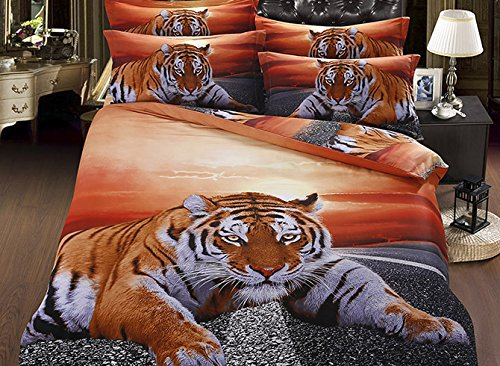 Babycare Pro Chic Lying Tiger under Twilight 5-Piece Cotton Comforter Sets (2 Pillowcases, Comforter, Duvet Cover, Flat Sheet) (King) (Twilight Comforter)