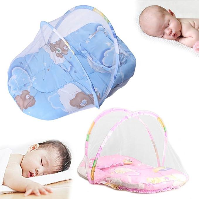 Cuna de cama de viaje para beb/és Azul cuna plegable para beb/és tienda anti-insectos con mosquitera protectora port/átil con almohada de colch/ón para beb/és de 0 a 18 meses aire libre interior.