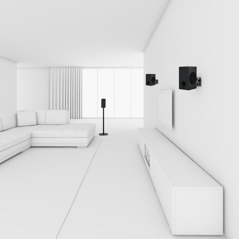 4 Packs Hold up to 7.7 lbs, SWM402 Black WALI Speaker Wall Mount Brackets Multiple Adjustments for Bookshelf Surrounding Sound Speakers