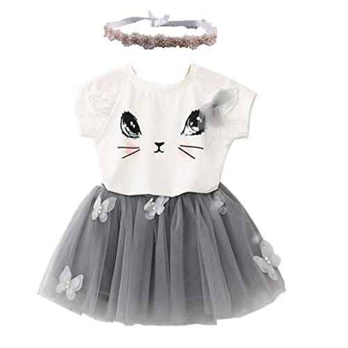 Clode® for 2-7 Years Old, Kids Girls Cat Pattern Shirt Top Butterfly Tutu Skirt with Headband Set Clothing