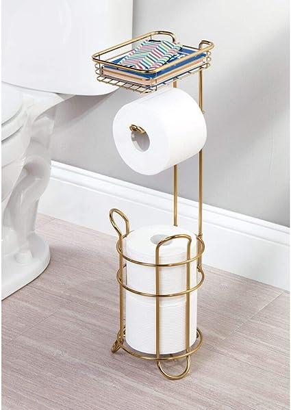 moderner Papierrollenhalter f/ürs Badezimmer und das G/äste-WC Klopapierhalter mit Raum f/ür bis zu 3 Reserverollen anthrazit mDesign Toilettenpapierhalter stehend