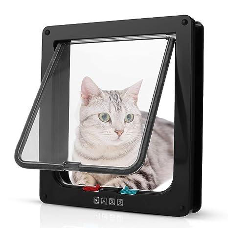 Pujuas - Puerta para Gato con Cierre magnético de 4 vías, Puerta para Mascotas para Gatos y Perros pequeños, Puerta para Gatos con túnel (Marrón, XL)