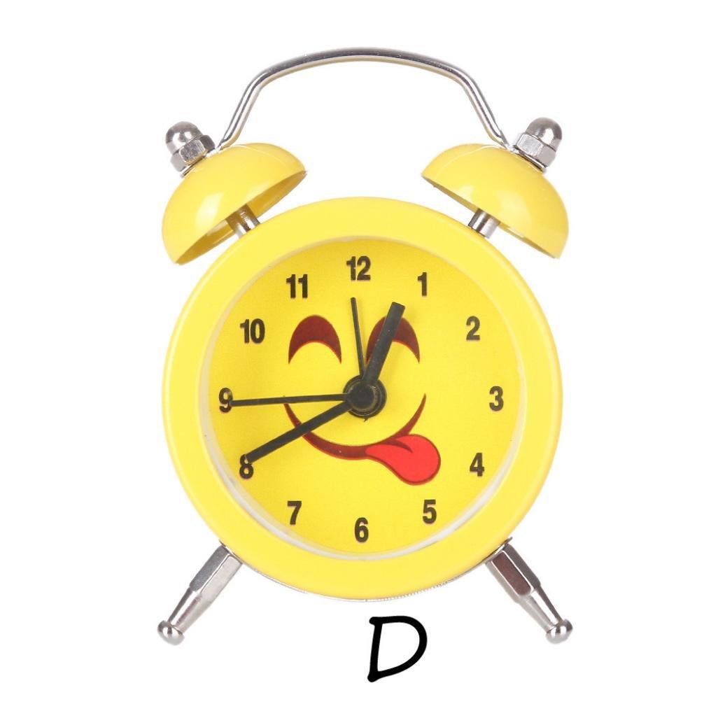 Alarm Clock,CieKen Emoji Emoticon Twin Bell Silent Alloy Stainless Metal Alarm Clock (Pattern D) by CieKen Alarm Clock (Image #2)
