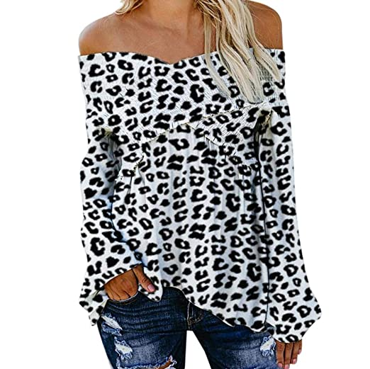 6ca645528a177f Women Blouse Leopard Print Cold Shoulder V Neck Long Bell Flared Sleeves  Criss Cross Casual Blouse Tops at Amazon Women's Clothing store: