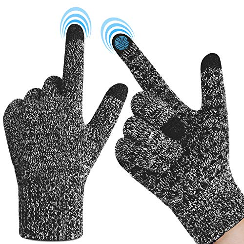 Touchscreen Winter Gloves for Men Women - Warm Gloves with Thickened Cuff & Anti-Slip Palm, 3 Finger Touchscreen for Texting & Driving