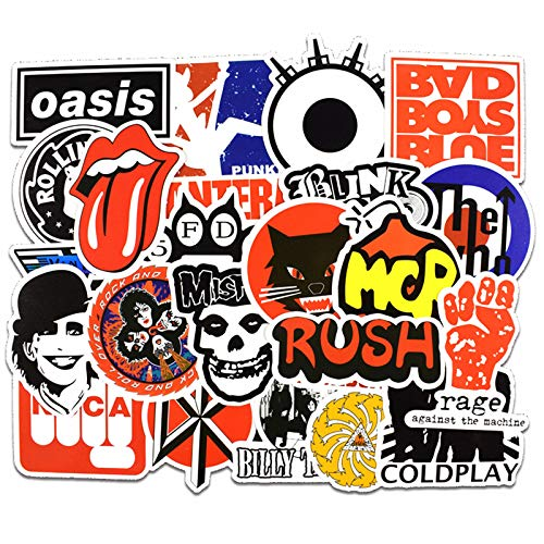 (50 pcs Rock Music Band Vinyl Laptop Stickers, Guitar, Skateboard,Luggage, Computer Sticker Packs for Adults & Teens, Perfect Gift Idea for Kids, No Duplicate)