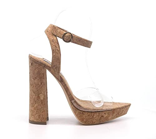 12d2197157f Cape Robbin Lovely Clear Open Pointy Toe Embossed Chunky Platform Heel