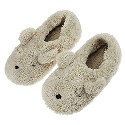 Fakeface Women's Adorable Indoor Slipper Cover Heel Cartoon Bear Warm & Cozy Soft Sole Fuzzy Footwear Boots, Beige | Slippers