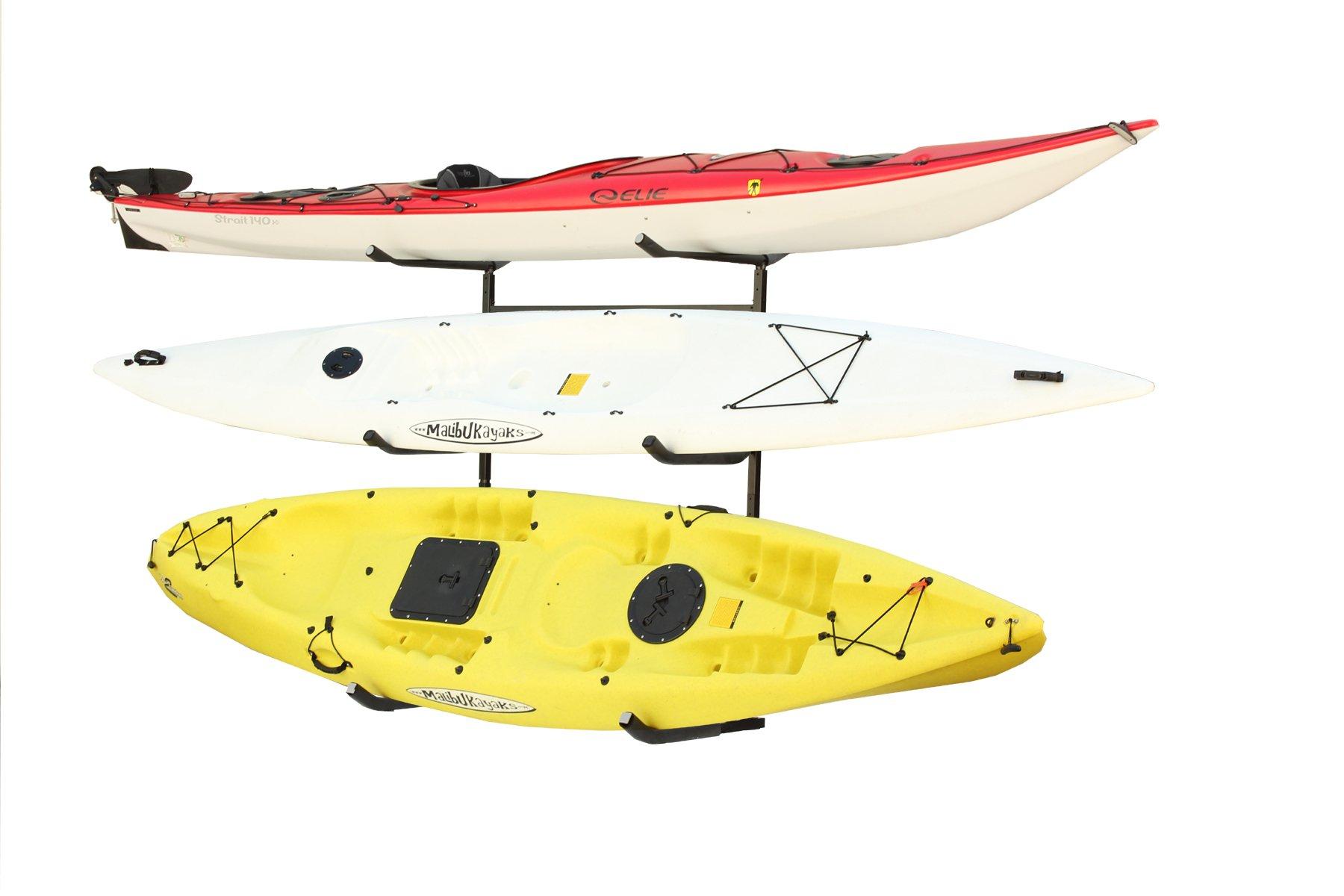 Stoneman Sports KC-123 Sparehand Catalina Plus Freestanding Triple Kayak or Canoe Storage Rack, Single Sided, Black Finish