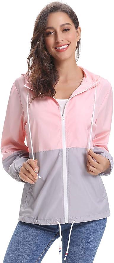 Women Lightweight Hooded Zip Up Drawstring Raincoat Outdoor Waterproof travel