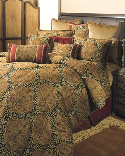 Kline Pattern Sherry (Sherry Kline Tangiers Comforter Set, King,Gold/Bronze, 4 Piece)