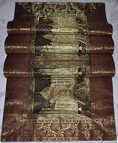 Indian Tajmahal Work Design Decorative Silk Table Runner Brown Color 60 X 16 Inches