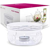 Teabloom Teapot Warmer (Standard Size - 5 in / 12 cm Diameter) - Handcrafted with Heat Proof Borosilicate Clear Glass - Tea Light Candle Included