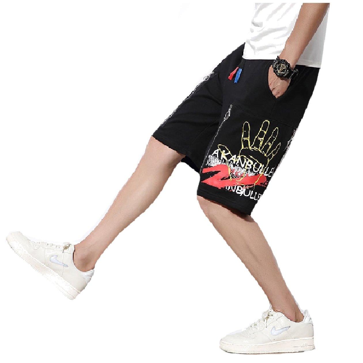 Zimaes-Men Zip Straight-Fit Fine Cotton Elastic Waist Midi Shorts Black XL by Zimaes-Men (Image #1)