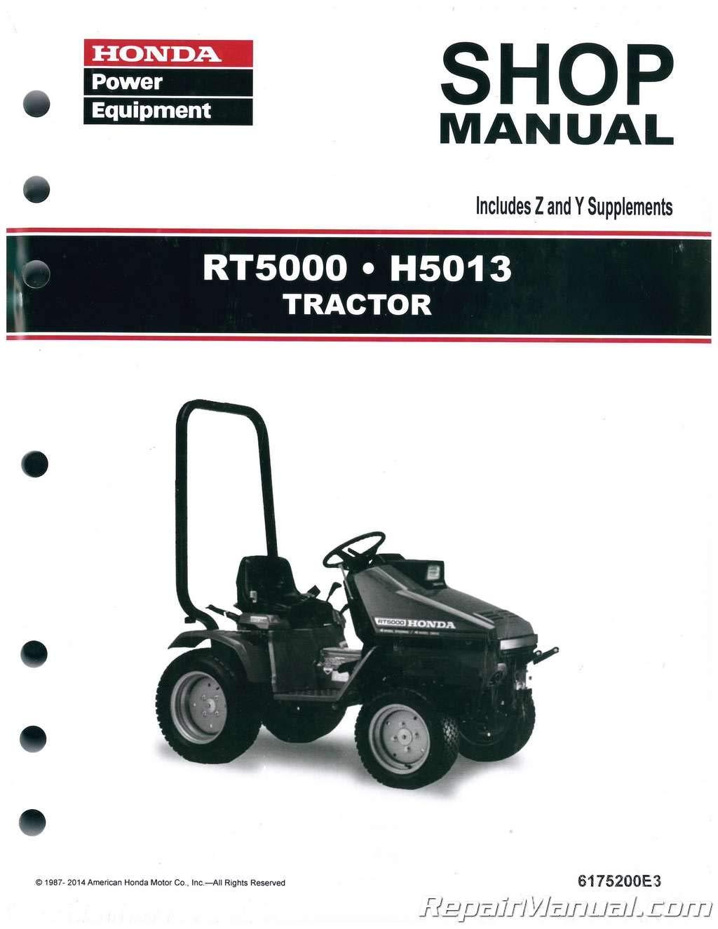 6175200E4 Honda H5013 RT5000 Lawn Tractor Shop Manual: by Author:  Amazon.com: BooksAmazon.com