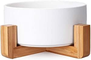 FAME SUPERB Ceramic Pet Bowl for Dog Cat Water Food Bowl with Bamboo Stand - No Tip Over Healthy Feeding Bowl Heavy Weighted Easy to Clean