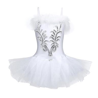 5bc2b8b8f40 Alvivi 3PCs Enfant Fille Justaucorps de Danse Robe Ballet Classique Gym  Tutu Robe à Paillettes Fleur