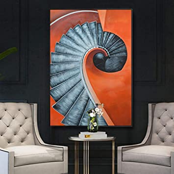 ETH Estructura Negra nórdica Moderna Escalera de Caracol Abstracto Pintura Art Deco Mural Pintura Mural Dormitorio hogar Sala de Estar Hotel 30 * 40/40 * 60/50 * 70 cm HD Micro Spray Exquisito: Amazon.es: Juguetes y juegos