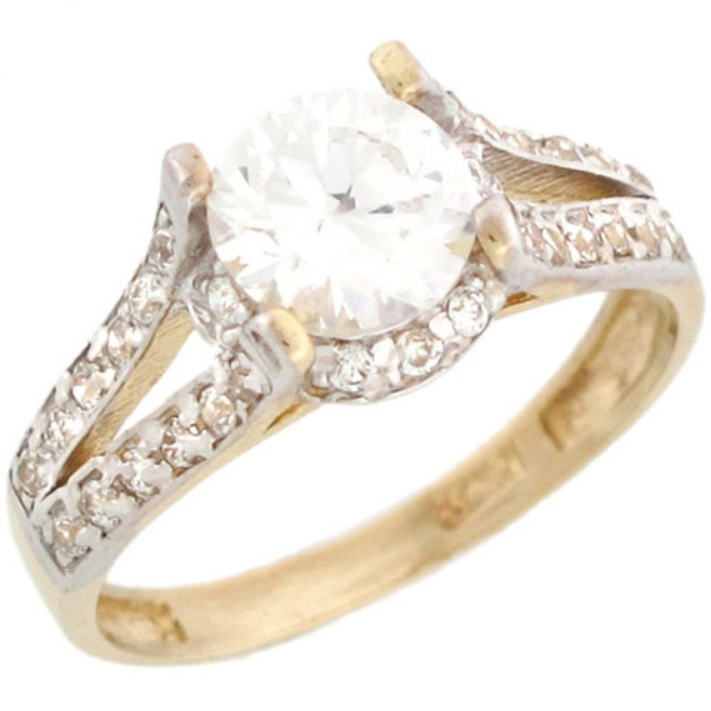 10k Yellow Gold Round CZ Engagement Ring with Halo and Side Accents