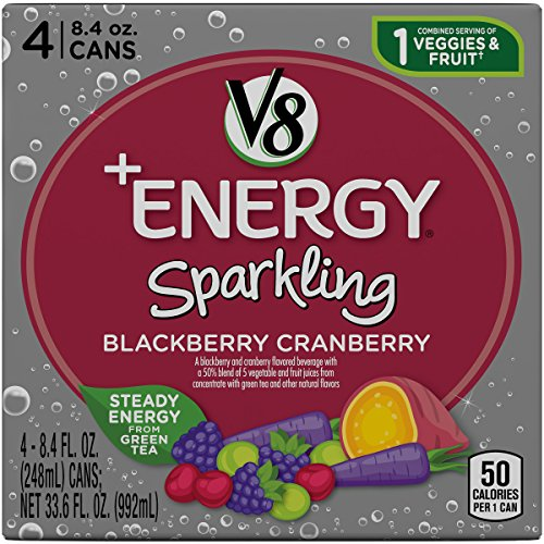 V8 +Energy, Sparkling Juice Drink with Green Tea, Blackberry Cranberry, 8.4 oz. Can (4 packs of 6, Total of 24)