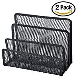 Easepres Small Letter Sorter Metal Mesh Desktop File Holder Organizer with 3 Vertical Upright Compartments (Black), 2 Pack