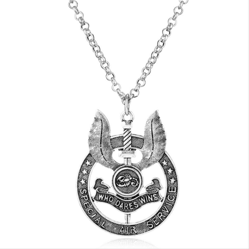 xtszlfj Collar de joyería SAS Servicio Aéreo Especial del Ejército Británico Que se atreve a Ganar Metal Insignia de la Fuerza Militar Colgante Collar Hombres Regalo