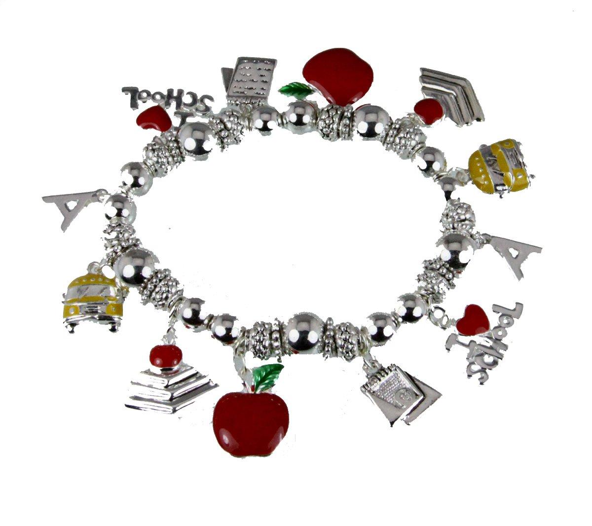 4031653 Teacher Stretch Charm Bracelet Appreciation Year End Gift Present School Bus Apple Favorite
