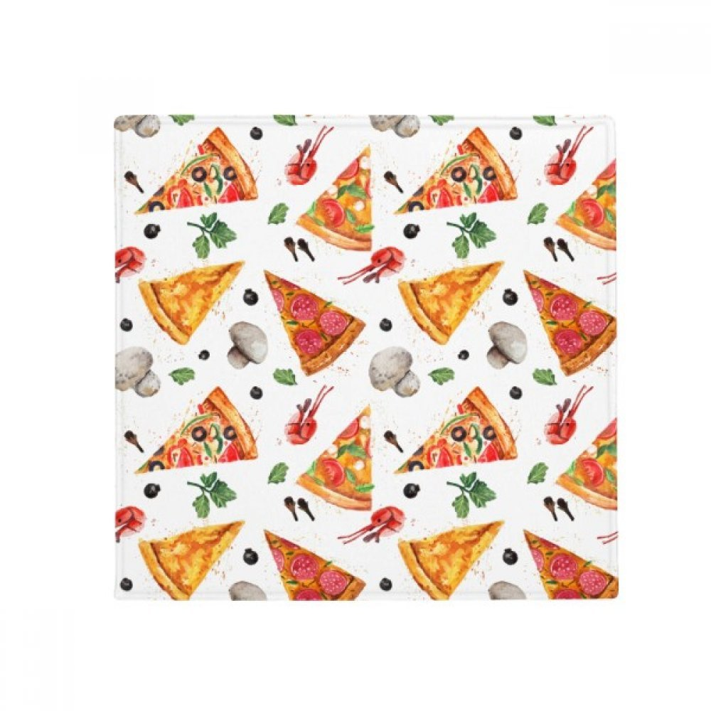 DIYpensatore Delious Food Pizza Illustration Pattern Anti -slip Floor Pet Mat Square Home Kitchen porta 80Cm Gift
