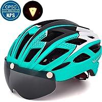Victgoal Fahrradhelm Herren Damen Erwachsene Fahrrad Zyklus Helm Magnetischer Visier-Schutzbrille mit LED-Rücklicht 57-61 cm