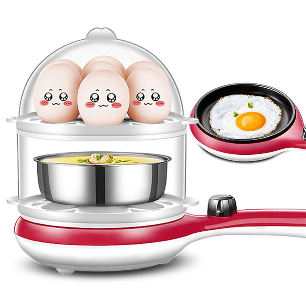 Double-Layer Steamer Small Electric Frying Pan Automatic Power Off Three-in-One Breakfast Machine for Steamed Buns Vegetable Steak,Pink