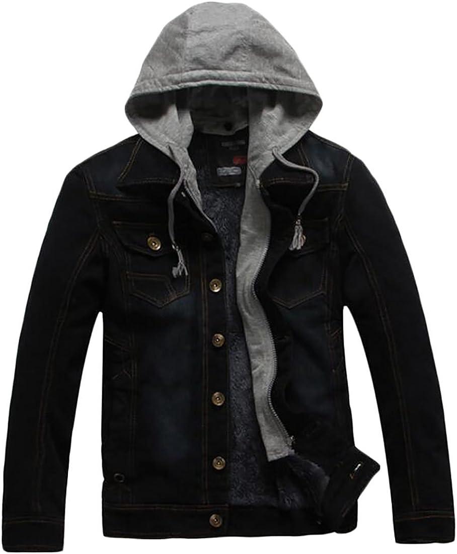 CRYYU Men Warm Fleece Lined Sherpa Zipper Sports Hooded Sweatshirt Jacket