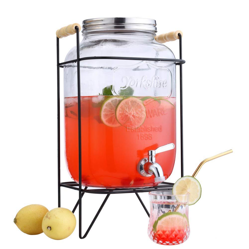 LU XUE 2 Gallon Beverage Dispenser,Glass Drink Dispenser with Stainless Steel Spigot,drink dispenser with stand,Glass Mason Jar,drink dispenser with portable handle ,Clear