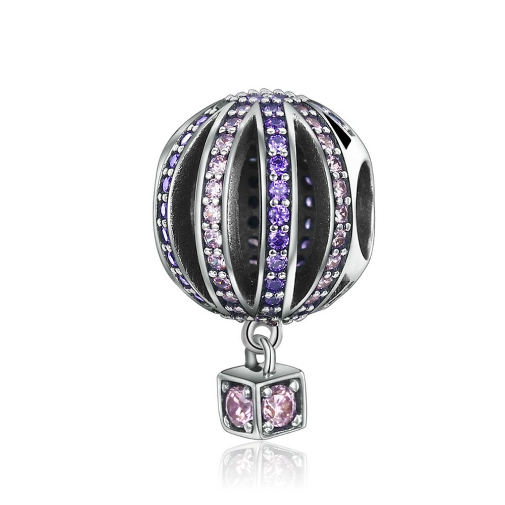 Soulove Hot Air Balloon Vacation Holiday Travel Purple CZ 925 Sterling Silver Bead for Snake Chain Charm Bracelet
