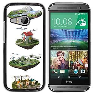 YOYOYO ( NO PARA HTC ONE M8 ) Smartphone Protección Defender Duro Negro Funda Imagen Diseño Carcasa Tapa Case Skin Cover Para HTC ONE MINI 2 M8 MINI - dibujos animados de dibujo cgi granja diseño blanco