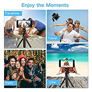 Phone Tripod, VINSIC Selfie Stick Tripod with Bluetooth Remote for iPhone, Cellphone Tripod for iPhone 11/11PRO/X/Max/8/7/6, Galaxy S8 S9 Plus Note 8, Huawei Android Phone and Camera (Color: DSER205, Tamaño: DSER205)