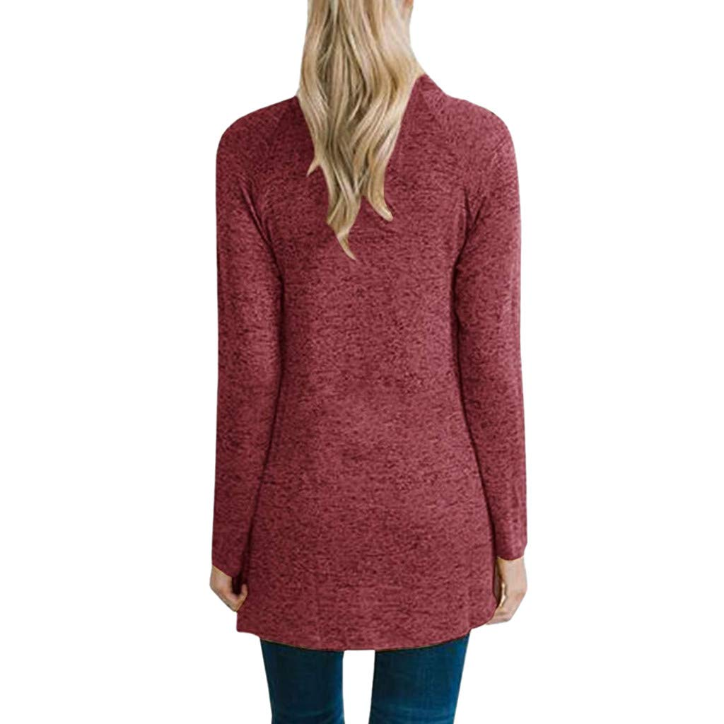 Long Sleeve Casual Loose Solid Color High Collar Color Cotton Pocket Sweater OSTELY Womens Pullover Sweatshirts