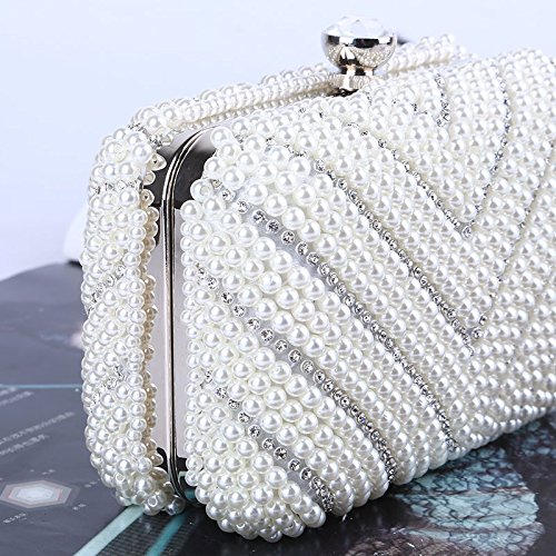 Prom Wedding Rabbit Handbag Party Evening Purse Women's Clutch Lovely Beaded Banquet Bag Pearl Style vC0CqwZ