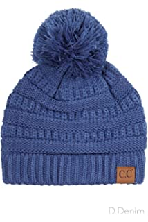 ba759e10742 ScarvesMe C.C Exclusive Soft Stretch Cable Knit Faux Fur Pom Pom Beanie Hat