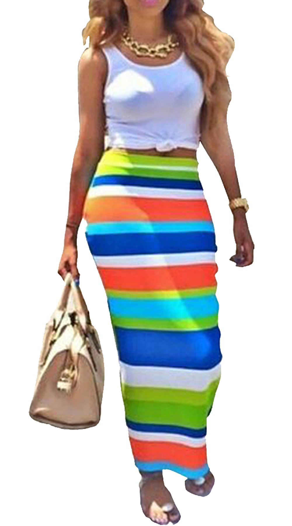Womens Crop Top Midi Skirt Outfit Two Piece Bodycon Maxi Dress White L