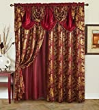 """Golden Rugs Jacquard Luxury Curtain Window Panel Set Curtain with Attached Valance and Backing Bedroom Living Room Dining 55""""X84"""" Each Jana Collection(Burgundy)"""